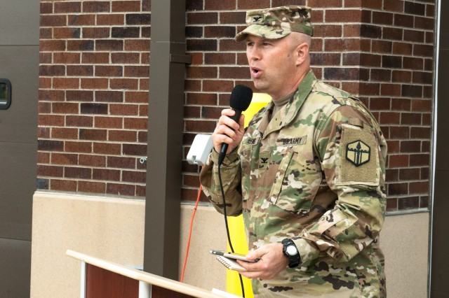 Col. Michael D. Lewis, commander of the 301st Maneuver Enhancement Brigade, addresses Soldiers, friends and family members of the 301st at the 301st MEB change of command ceremony held at Joint Base Lewis-McChord, Washington June 4, 2017. Founded in 2008, the 301st Maneuver Enhancement Brigade is one of three MEB's in the�Army Reserve. The MEB is a unique multifunctional mission command headquarters designed to perform maneuver support operations for the echelon it supports (U.S. Army Reserve photo by Spc. Sean Harding, 301st Maneuver Enhancement Brigade).