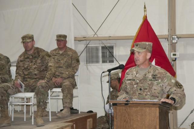 Outgoing Commander of the 548th Combat Sustainment Support Battalion, Lt. Col Douglas C. Thompson, addresses the formation during a change of command ceremony at Camp Buehring, Kuwait, June 5, 2017. Lt. Col. Thompson is succeeded by Lt. Col. Anthony L. Wilson Sr. as the Battalion Commander. The 548th CSSB conducts sustainment operations throughout the Middle East, providing supplies and services in support of Operation Spartan Shield and Operation Inherent Resolve. (U.S. Army photo by Sgt. Jeremy Bratt)