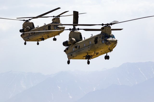 U.S. Army CH-47 Chinook helicopter pilots assigned to Task Force Flying Dragons, 16th Combat Aviation Brigade, 7th Infantry Division land at Bagram Airfield, Afghanistan, June 9, 2017. The Flying Dragons provide aviation support to U.S. Forces Afghanistan as part of Operation Freedom's Sentinel.
