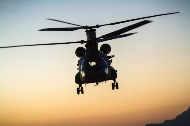 U.S. Army CH-47 Chinook helicopter pilots assigned to Task Force Flying Dragons, 16th Combat Aviation Brigade, 7th Infantry Division fly near Mazar-e-Sharif, Afghanistan, June 9, 2017. The Flying Dragons provide aviation support to U.S. Forces Afghanistan as part of Operation Freedom's Sentinel.