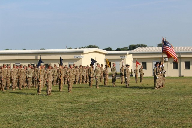 """The Soldiers of 1st Battalion, 8th Infantry Regiment, 3rd Armored Brigade Combat Team, 4th Infantry Division, stand in formation during a combined change of command and responsibility ceremony at Mihail Kogalniceanu Air Base, Romania, June 5, 2017. The battalion bid farewell to Lt. Col. Jason Sabat, commander, and Cmd. Sgt. Maj. Jay Morse, who led 3/4 ABCT's """"Task Force 1-8 Infantry"""" as the southern rotational land force for Operation Atlantic Resolve, passed the command team torch to Lt. Col. Mark Battjes and Cmd. Sgt. Maj. Timothy Chrysler. (U.S. Army photo by 1st Lt. Samuel Jolley, 3rd Armored Brigade Combat Team, 4th Infantry Division)"""