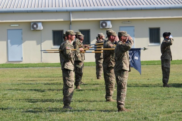 """Soldiers of 1st Battalion, 8th Infantry Regiment, 3rd Armored Brigade Combat Team, 4th Infantry Division, salute their new battalion commander, Lt. Col. Mark Battjes, during a combined change of command and responsibility ceremony at Mihail Kogalniceanu Air Base, Romania, June 5, 2017. Battjes and Cmd. Sgt. Maj. Timothy Chrysler assumed command of 3/4 ABCT's """"Task Force 1-8 Infantry,"""" the southern rotational land force for Operation Atlantic Resolve, from Lt. Col. Jason Sabat and Cmd. Sgt. Maj. Jay Morse. (U.S. Army photo by 1st Lt. Samuel Jolley, 3rd Armored Brigade Combat Team, 4th Infantry Division)"""