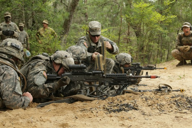 Infantrymen from Company B, 2nd Battalion, 121st Infantry Regiment, 48th Infantry Brigade Combat Team, reload an M240B during an eXportable Combat Training Capability exercise June 11, 2017 at Fort Stewart. The exercise as part of the Associated Units Pilot Program to allow National Guard, Reserve and active units to train and deploy together