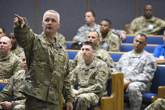 Brig. Gen. Paul Pardew, commanding general of the Expeditionary Contracting Command, briefs Soldiers participating in Operational Contract Support Joint Exercise 2017 on the status of the contracting career field on March 17, 2017, at Fort Bliss, Texas.