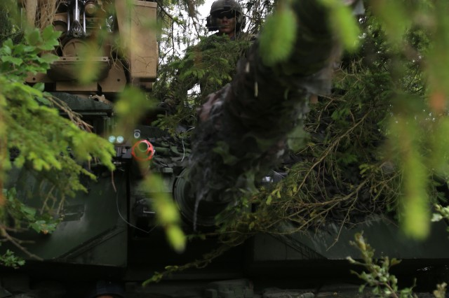 U.S. Soldiers of Ares Company, 1st Battalion, 66th Armor Regiment, 4th Infantry Division conduct camouflage construction operations during Exercise Combined Resolve VIII at the Hohenfels Training Area, Hohenfels, Germany, June 4, 2017. Exercise Combined Resolve VIII is a multinational exercise designed to train the Army's Regionally Allocated Forces to the U.S. European Command. Combined Resolve VIII will include more than 3,400 participants from 10 nations. The goal of the exercise is to prepare forces in Europe to operate together to promote stability and security in the region.