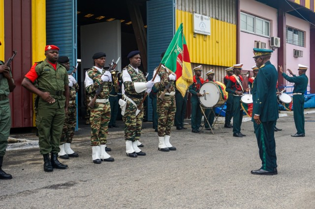 A Cameroonian Armed Forces honor guard and band receives Maj. Gen. Baba Souley, Cameroon land force commander, at the closing ceremony for Exercise Unified Focus 2017, held at the Douala Naval Base, Cameroon, April 28, 2017. UF 17 is a weeklong tabletop exercise that brings the military partners of the Lake Chad basin area's Multinational Joint Task Force (MNJTF) together to practice joint planning and coordination through a series of scripted vignettes.