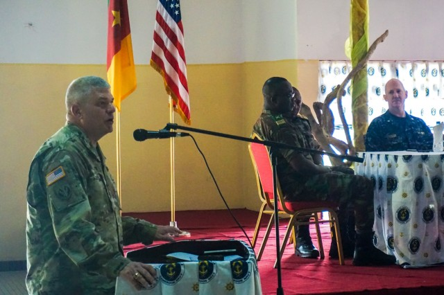 U.S. Army Brig. Gen. Kenneth Moore, U.S. Army Africa deputy commander, gives remarks at the closing ceremony for Exercise Unified Focus 2017, held at the Douala Naval Base, Cameroon, April 28, 2017. UF 17 is a weeklong tabletop exercise that brings the military partners of the Lake Chad basin area's Multinational Joint Task Force (MNJTF) together to practice joint planning and coordination through a series of scripted vignettes.