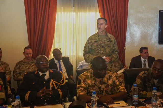 U.S. Army Col. Michael Zinno, U.S. Army Africa G9 director, addresses assembled senior leaders at the Unified Focus 2017 Regional Leaders Seminar held in Douala, Cameroon, April 28. The RLS gathers regional senior leaders together to discuss shared issues, challenges and threats in an open forum where candid dialog is encouraged between participants.