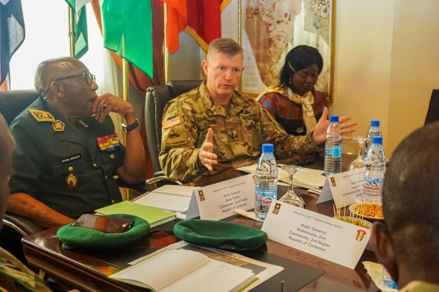 Cameroonian Maj. Gen. Baba Souley, chief of land forces for Cameroon, and U.S. Army Maj. Gen. Joseph Harrington, U.S. Army Africa commanding general, provide opening remarks to assembled senior leaders at the Unified Focus 2017 Regional Leaders Seminar held in Douala, Cameroon, April 28. The RLS gathers regional senior leaders together to discuss shared issues, challenges and threats in an open forum where candid dialog is encouraged between participants.