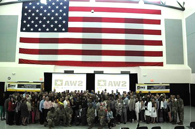 Army Wounded Warrior advocates pose for a photo during the Annual AW2 training in Tampa, Fla. June 07, 2017.