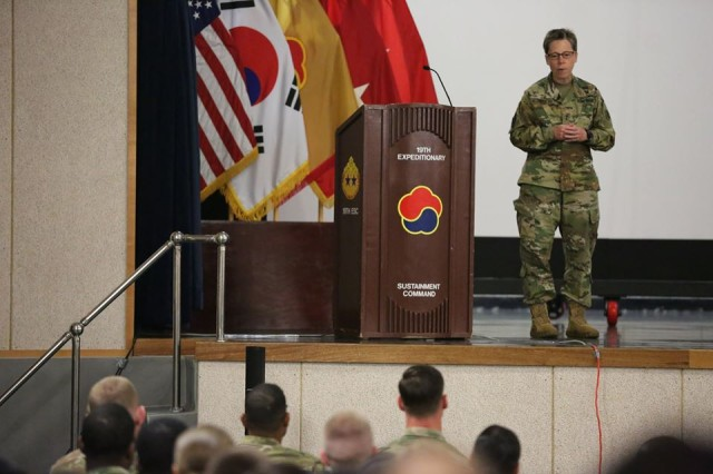 Maj. Gen. Tammy S. Smith, Deputy Commanding General -- Sustainment, Eighth Army, provides the keynote address during the 19th Expeditionary Sustainment Command, Headquarters and Headquarters Company's annual Pride Month Observance, June 7, 2017. Since 2011, June has been dedicated as the Lesbian, Gay, Bisexual and Transgender Pride month.