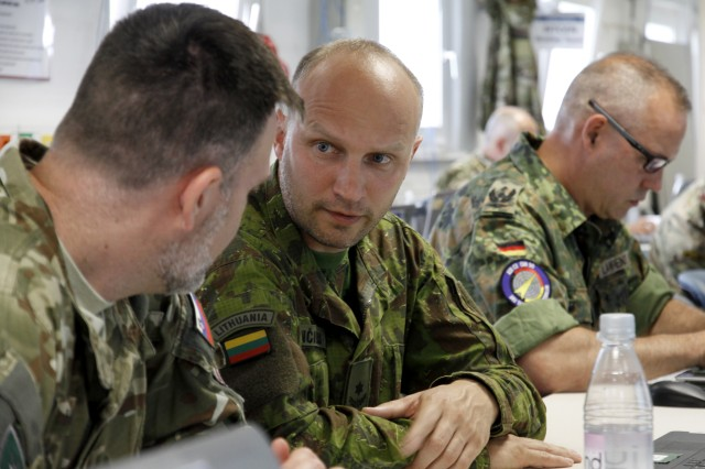 Grafenwoehr, Germany - Multinational Soldiers participate in the Multinational Corps North East's Combat Readiness Evaluation (CREVAL) as part of Saber Strike 2017. The 7th Army Training Command's Joint Multinational Simulation Center hosted the CREVAL here, June 6-14, 2017.
