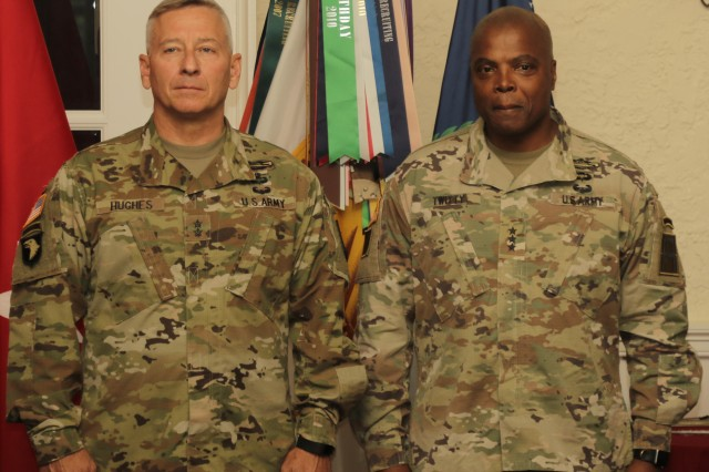 Lt. Gen. Stephen Twitty, right, commanding general of First Army at Rock Island Arsenal, Ill., is inducted into the Army Reserve Officers' Training Corps hall of fame during a ceremony June 14, 2017, at the Saber and Quill on Fort Knox, Ky. Twitty has served in the U.S. Army for 36 years.