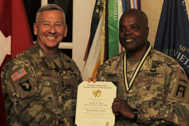 Lt. Gen. Stephen Twitty, commanding general of First Army at Rock Island Arsenal, Ill., is inducted into the Army Reserve Officers' Training Corps hall of fame during a ceremony June 14, 2017, at the Saber and Quill on Fort Knox, Ky. Twitty has served in the U.S. Army for 36 years.