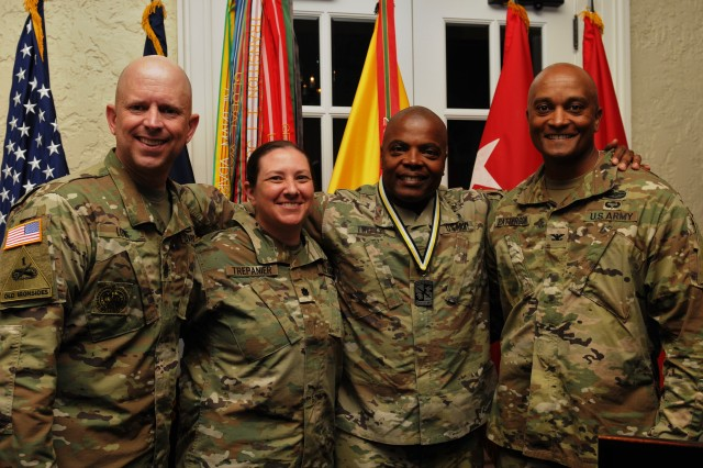 Lt. Gen. Stephen Twitty, second from right, commanding general of First Army at Rock Island Arsenal, Ill., poses with his 4th Cavalry Multi-Functional Training Brigade command team after an induction ceremony June 14, 2017, at the Saber and Quill on Fort Knox, Ky. Twitty was inducted into the Army Reserve Officers' Training Corps hall of fame.
