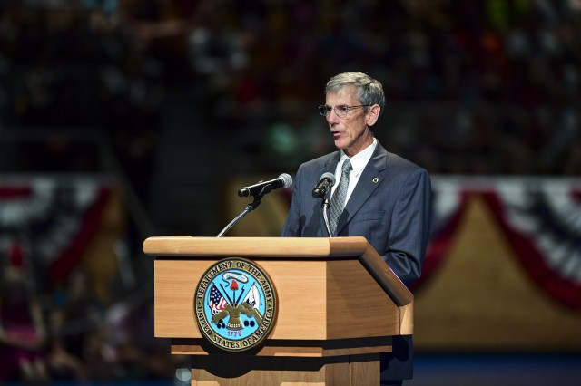 Acting Secretary of the Army Robert Speer serves as host of a June 14, 2017 twilight tattoo event at Joint Base Myer-Henderson Hall, Va., in celebration of the Army's 242nd birthday.