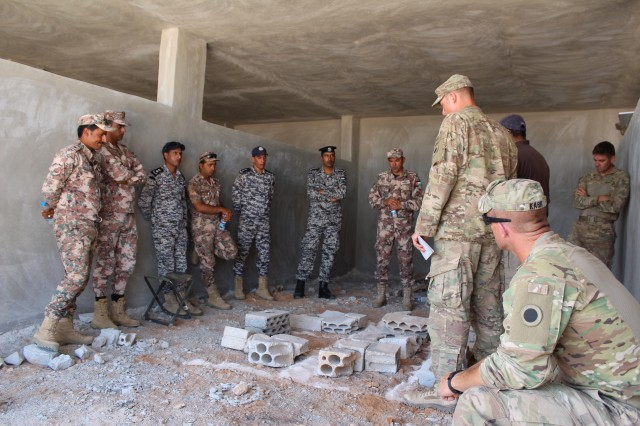 Staff Sgt. Timothy Karr, platoon sergeant, and 1st Lt. Paul Laurent, platoon leader from the 1st Battalion, 148th Infantry Regiment, coordinates with Jordan Armed Forces- Arab Army and 20th Desert Special Police, May 15, 2017 during Urban Operations rehearsal.