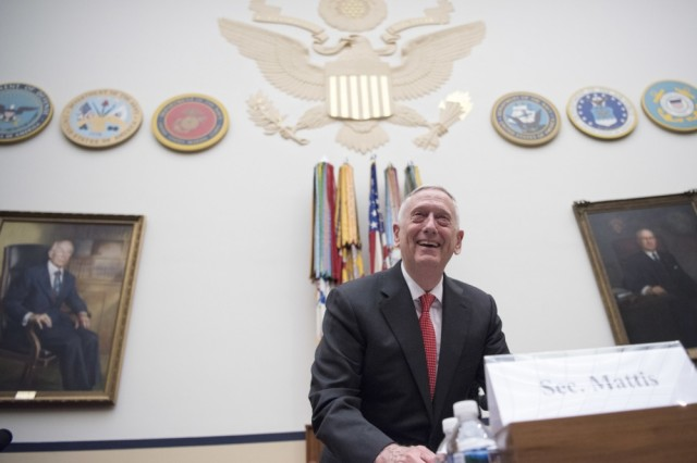 Defense Secretary James N. Mattis arrives at Rayburn House Office Building to provide testimony on the Fiscal Year 2018 National Defense Authorization Budget Request from the Department of Defense to members of the House Armed Services Committee in Washington D.C., June 12, 2017.