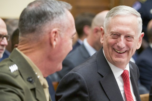 Defense Secretary James N. Mattis and Marine Corps Gen. Joseph F. Dunford Jr., chairman of the Joint Chiefs of Staff, provide testimony on the Fiscal Year 2018 National Defense Authorization Budget Request from the Department of Defense to members of the House Armed Services Committee at the Rayburn House Office Building in Washington D.C., June 12, 2017.