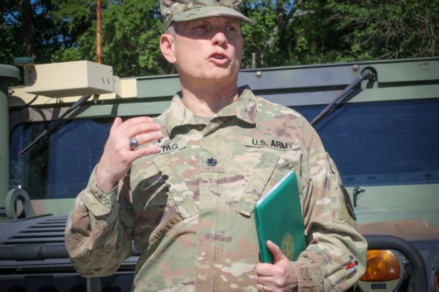 Photo By Sgt. 1st Class Brent Powell | Army Reserve Lt. Col. James A. Freitag, staff chaplain, 335th Signal Command (Theater) addresses a group of Soldiers after being awarded a Meritorious Service Medal during an awards ceremony at the unit headquarters in East Point, Georgia in May. Freitag, who is nearing retirement, is one of only two Soldiers in the history of the Army who has served as a command sergeant major and as a chaplain. (Official U.S. Army Reserve photo by Sgt. 1st Class Brent C. Powell)
