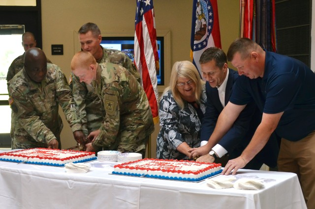 Missouri Gov. Eric Greitens participated in the traditional cake-cutting ceremony in honor of the 242nd birthday.