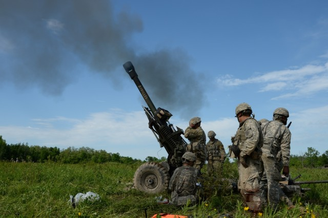 New York  Army National Guard Soldiers from 1st Battalion, 258th Field Artillery fire an M119A2 howitzer at Fort Drum, N.Y., June 9, 2017. The Soldiers were conducting annual training and have very few opportunities to use these cannons. This was one of the few times they would fire it with live ammunition.
