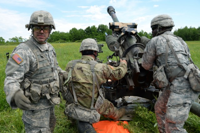 U.S. Army National Guard Soldiers from 1st Battalion, 258th Field Artillery, dry fire a M20A1 Howitzer on Fort Drum, N.Y., June 8, 2017. Soldiers were conducting annual training to get practice firing and transporting howitzers.