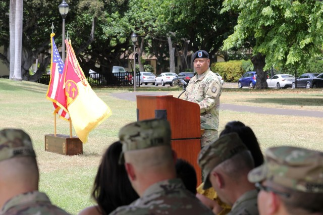 1st Sgt. Raymond B. Peredo of Yona, Guam thanks the Headquarters and Headquarters Battery, 94th Army Air and Missile Defense Command Soldiers for their support while he was first sergeant during a change of responsibility ceremony June 14 at the Medal of Honor field on Joint Base Pearl Harbor-Hickam. During the ceremony 1st Sgt. Thomas A. Johnson of Mineral Point, Wis. assumed responsibility of HHB from Peredo.