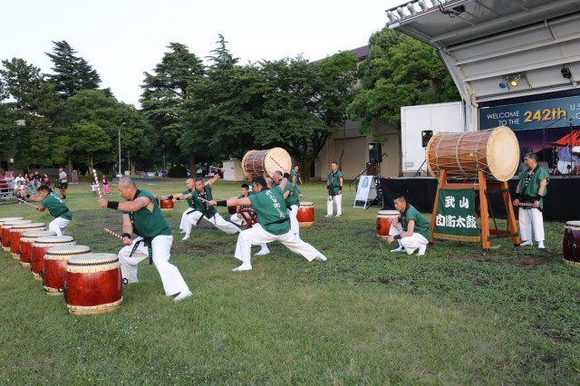 Japan Ground Self-Defense Force members perform Taiko Drums during the community BBQ held June 14, 2017 on Camp Zama's Yano field as part of the Army Birthday Week.  (U.S. Army photo by Noriko Kudo)