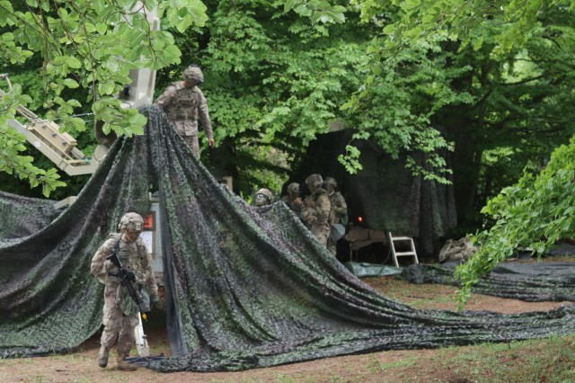 Soldiers of 3rd Armored Brigade Combat Team, 4th Infantry Division, set up a tactical operations center during Combined Resolve VIII at the Hohenfels Training Area, Germany, June 4, 2017. Exercise Combined Resolve VIII is a full-spectrum exercise designed to train the U.S. Army Europe's Regionally Allocated Forces to work in a multinational environment that features more than 3,400 participants from 10 nations. The exercise prepares forces in Europe to operate together to promote stability and security in the region.