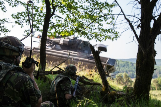 Romanian soldiers of 811th Infantry Battalion provide security while conducting an air defense mission during Exercise Combined Resolve VIII at the Hohenfels Training Area, Hohenfels, Germany June 03, 2017. Exercise Combined Resolve VIII is a full-spectrum exercise designed to train the U.S. Army Europe's Regionally Allocated Forces to work in a multinational environment that features more than 3,400 participants from 10 nations. The exercise prepares forces in Europe to operate together to promote stability and security in the region.