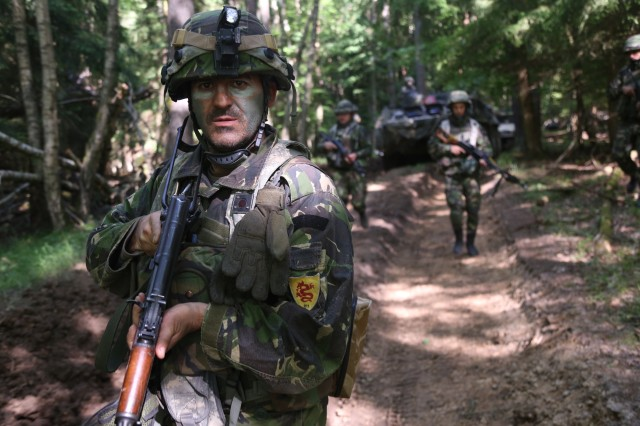 Romanian soldiers of Alpha Company, 811th Infantry Battalion, provide security while conducting a tactical movement during Exercise Combined Resolve VIII at the Hohenfels Training Area, Hohenfels, Germany, June 11, 2017. Exercise Combined Resolve VIII is a full-spectrum exercise designed to train the U.S. Army Europe's Regionally Allocated Forces to work in a multinational environment that features more than 3,400 participants from 10 nations. The exercise prepares forces in Europe to operate together to promote stability and security in the region.