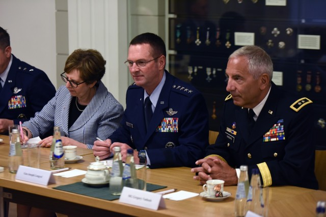 U.S. Ambassador Nancy Pettit, ambassador to Latvia; Air Force Gen. Joseph Lengyel, chief, National Guard Bureau; and Army Maj. Gen. Greg Vadnais, adjutant general, Michigan National Guard, meet with Latvian leaders in Riga, Latvia, June 12, 2017.