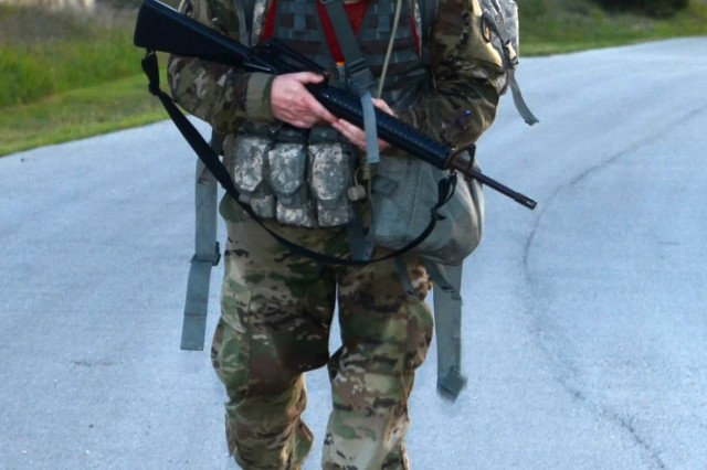 Staff Sgt. David Timmons approaches checkpoint 6 during a 12-mile ruck march as part of the 2017 Army Contracting Command Best Warrior Competition June 8 at Joint Base San Antonio-Camp Bullis, Texas. Timmons was one of seven Soldiers from throughout the command vying for the best warrior title over five days of competition and the right to represent ACC at the Army Materiel Command level in July. Timmons is a contracting non-commissioned officer with the 741st Contracting Team at Fort Campbell, Kentucky.