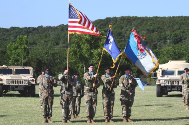 The 504th color guard renders honors to the National Colors during the brigade's Change of Responsibility ceremony, June 16, at Always Ready Field on West Fort Hood, Texas.