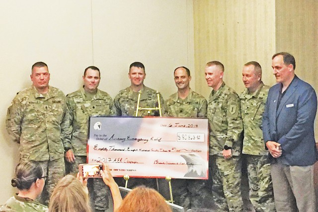 The 75th Army Emergency Relief campaign came to a close May 30 and a total of $82,948.27 was donated by Soldiers and members of the Fort Riley community during this campaign. Army Emergency Relief is the Army's financial assistance program providing loans and grants to Soldiers in need.