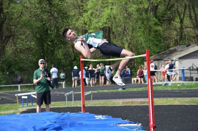 """Matt Rivera, a senior at Fort Knox High School, broke a personal record in the high jump with jump of 6'-2"""" April 15 during the Kentucky Country Day Bearcat Invitational."""
