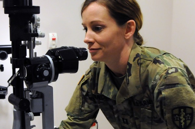 Capt. Abbey Vanderah, an optometrist assigned to Army Reserve Medical Command's 7227th Medical Support Unit located in Columbia, Missouri, is one of approximately 25 U.S. Army Reserve Soldiers who are working in partnership with Pine Ridge Indian Health Service to provide medical care to the local tribal population. The Indian Health Service provides preventive, curative, and community health care for approximately 2.2 million American Indians and Alaska Natives in hospitals, clinics, and other settings throughout the United States. Services provided by Army Reserve personnel are done through the Department of Defense's Innovative Readiness Training, a civil-military program that builds mutually beneficial partnerships between U.S. communities and the DoD.  The missions selected meet training & readiness requirements for Army Reserve service members while integrating them as a joint and whole-of-society team to serve our American citizens.