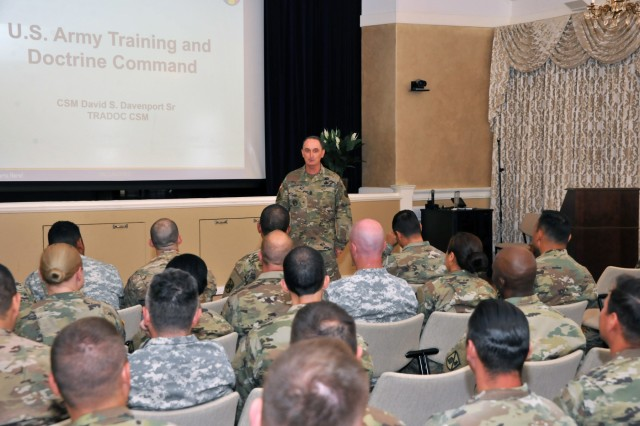 Command Sgt. Maj. David Davenport, the senior enlisted leader for the U.S. Army Training and Doctrine Command, speaks with noncommissioned officers of the 229th Military Intelligence Battalion assigned as platoon sergeants, military language instructors, trainers or other leadership positions at the Defense Language Institute Foreign Language Center at the Presidio of Monterey, California, June 16. Davenport traveled throughout TRADOC during the week of the U.S. Army's 242nd Birthday and concluded in Monterey where he spoke about NCO development and the DLIFLC's future role in the Army's 2025-2050 timeframe and beyond. (U.S. Army photo by Patrick Bray/Released)