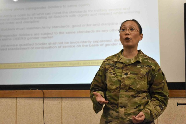 Lt. Col. Cecile Warren, 19th Expeditionary Sustainment Command Equal Opportunity program manager, educates Area IV employees about Department of Defense and Army policy allowing open service of transgender Soldiers, and an overview of roles, responsibilities and associated processes at the Camp Henry Theater, June 8, 2017.