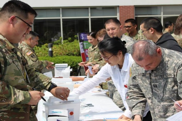 BAACH Safety Office hosted the first 'Stop Sticks' Campaign in Asian Garden, Brian Allgood Army Community Hospital (BAACH), May 18, 2017. Over 200 staff members involved with medical sharps participated in the event which provided hands-on testing of new medical sharps items, educational information about handling sharps and proper handling of sharps containers. This campaign was one of the best examples of BAACH's efforts to minimize the reoccurrence of hazardous accidents.