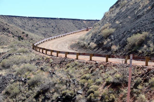 JEMEZ DAM, N.M. -- This photo shows guardrail posts along the Jemez Dam access road after they were replaced to meet N.M. Dept. of Transportation guidelines, April 5, 2017.