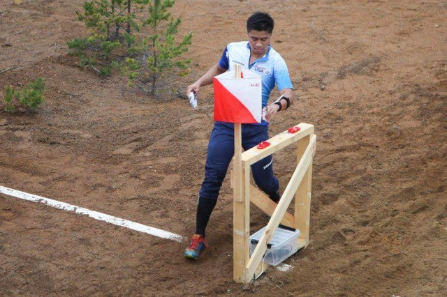 1st Lt. Theodore Fong is seen competing in the 50th World Military Orienteering Championship in Hamina, Finland. Fong was chosen to compete and represent the American military in the national competition.