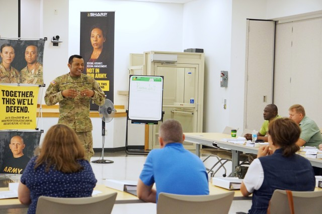 CECOM G3 Sgt. Maj. Adrian Borel delivers opening remarks to participants in the SHARP Foundation Course which began June 20, 2017 at the Mallette Training Facility on Aberdeen Proving Ground, Maryland. The 80 hour, two-week training is a Department of Defense course requirement that provides instruction for military and civilian collateral duty SARC and VA (Victim Advocates) at the battalion level and below.