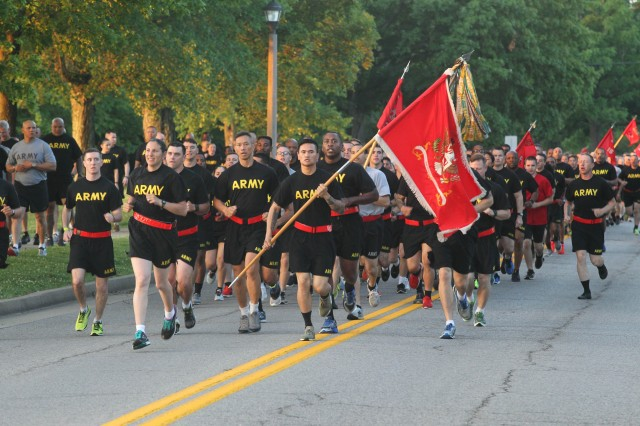 Soldiers from the 19th Engineer Battalion take part in the Fort Knox Army Birthday Run June 14. Soldiers, DA Civilians and family members ran and walked the four-mile course to celebrate the Army's 242nd birthday and to promote esprit de corps & camaraderie throughout the Fort Knox community.