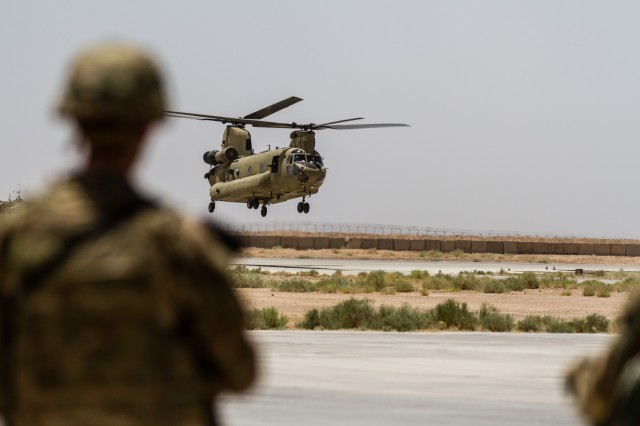 U.S. Army Reserve CH-47 Chinook helicopter pilots deployed with Task Force Warhawk, 16th Combat Aviation Brigade, 7th Infantry Division land in Helmand Province, Afghanistan, June 21, 2017. The Warhawks provide aviation support to U.S. Forces Afghanistan as part of Operation Freedom's Sentinel.
