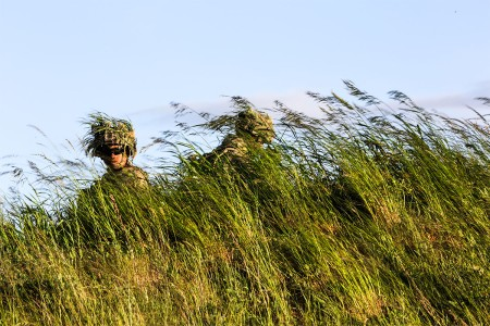 U.S. Soldiers put on camouflage and set up forward observation posts at the Bemowo Piskie Training Area, Bemowo Piskie, in Poland, June 14, 2017. Saber Strike 17 is a U.S. Army Europe-led multinational combined forces exercise conducted annually to enhance the NATO alliance throughout the Baltic region and Poland. This year's exercise includes integrated and synchronized deterrence- oriented training designed to improve interoperability and readiness of the 20 participating nations' militaries.