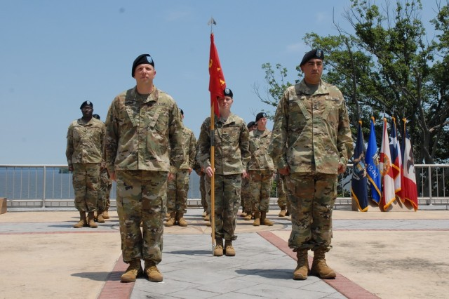 Capt. Samuel Horwitz, commander of Battery A, 3rd Air Defense Artillery Regiment, 108th Air Defense Artillery Brigade, leads the Battery formation for the final time at Aberdeen Proving Ground, Maryland, during the unit's inactivation ceremony on June 15, 2017.  A-3 was conducting a homeland defense mission in the National Capital Region.