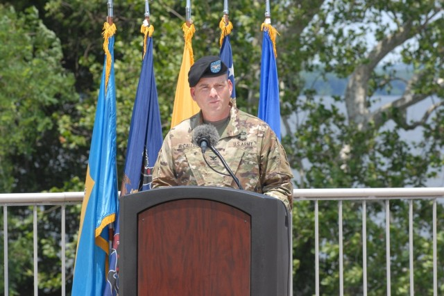 Col. Joseph McCallion, Jr., commander of the 108th Air Defense Artillery Brigade, speaks at Aberdeen Proving Ground, Maryland, during the inactivation ceremony of Battery A, 3rd Air Defense Artillery Regiment on June 15, 2017.  A-3 was conducting a homeland defense mission in the National Capital Region.