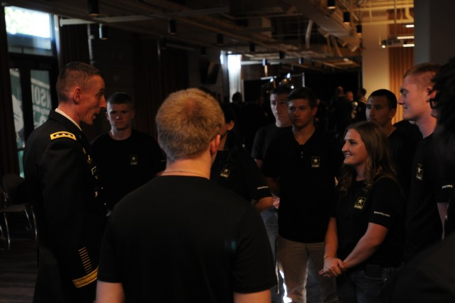 I Corps commander, Lt. General Gary J. Volesky, greets future soldiers before the Mariner's game June 23, 2017 at Safeco Field. The Future Soldiers received the oath of enlistment on the field before the game.  (U.S. Army photo by Pvt. Ethan Valetski)